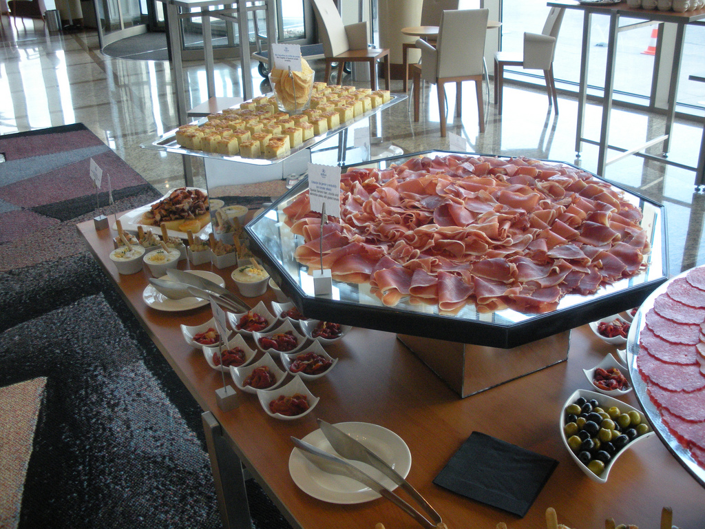Tapas buffet with serrano ham