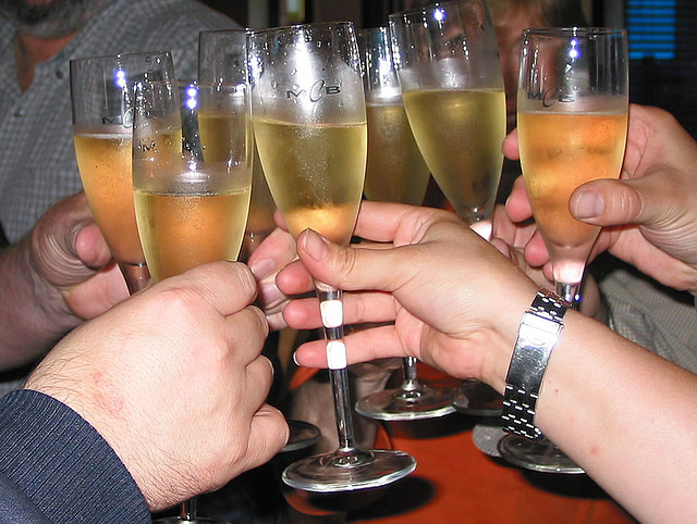 glasses of champagne toasting