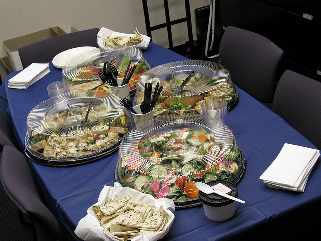 catered lunch of salads
