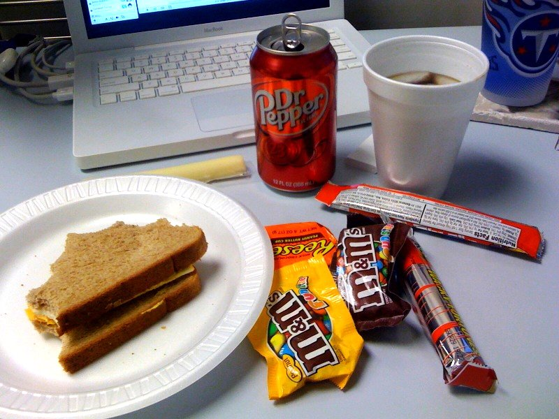 Candy and soda at desk for lunch