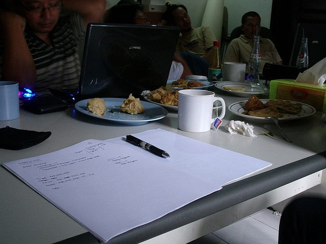 office lunch table with papers
