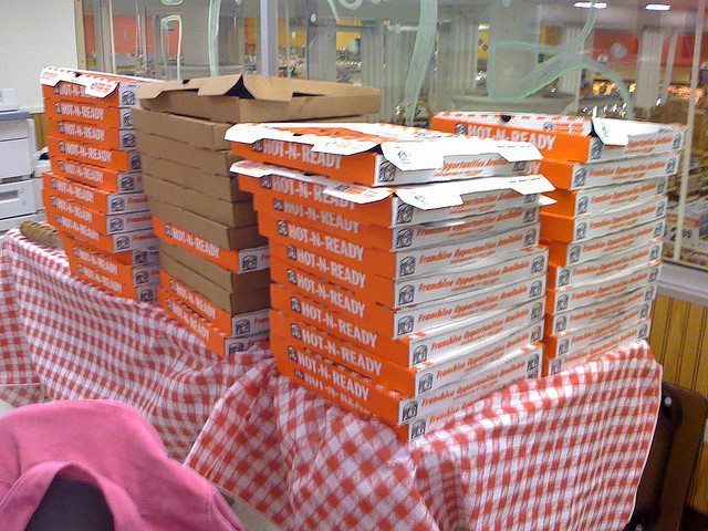 stacks of pizza boxes