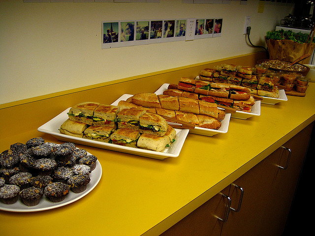 Catered sandwiches at work