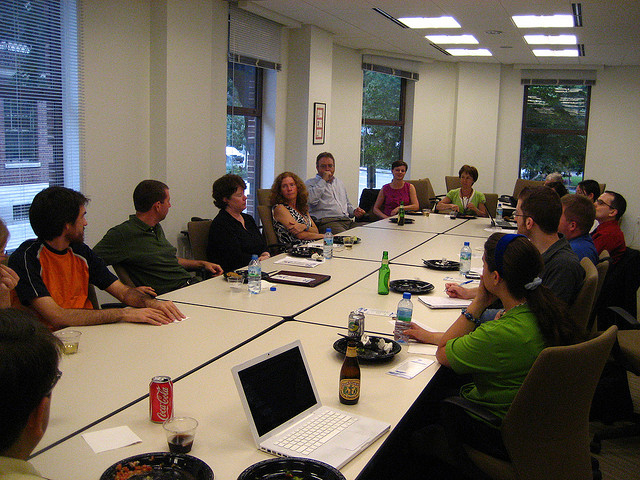 Lunch meeting in a conference room