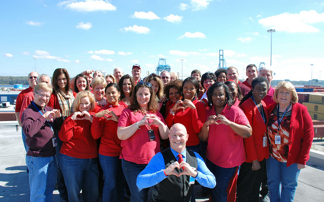 Employees in red for American Heart Month
