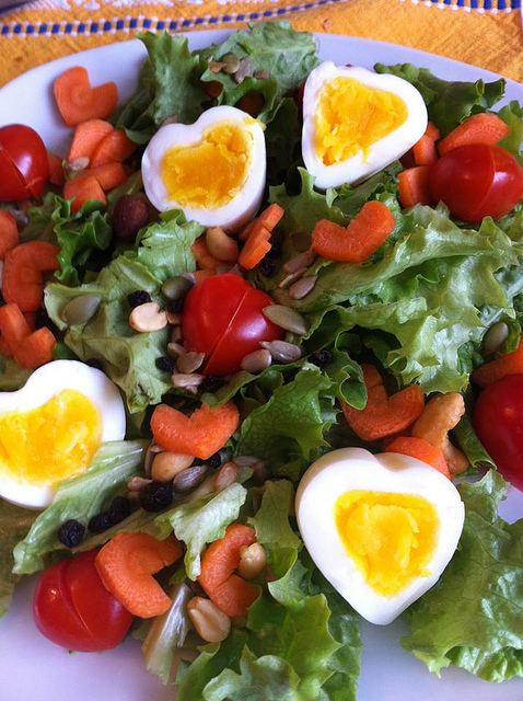 heart-shaped healthy salad