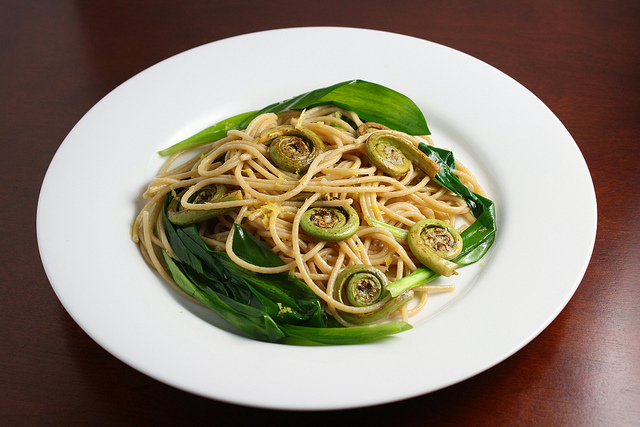 whole wheat pasta with fiddleheads