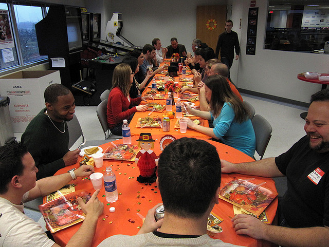 employee meal at large table