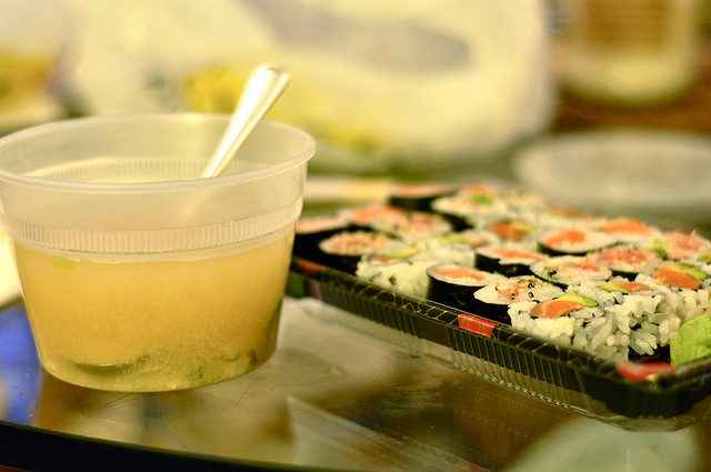 takeout sushi with miso soup