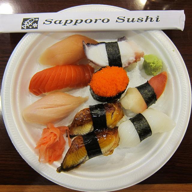 takeout plate of nigiri sushi