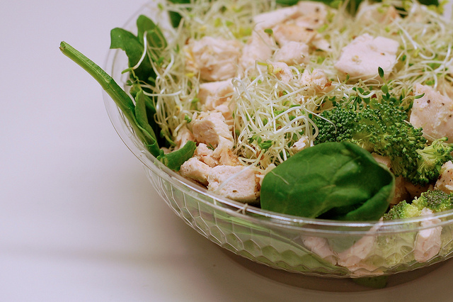 salad in takeout container