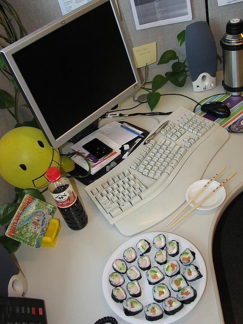 sushi at desk