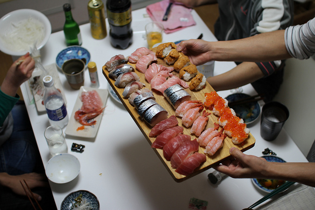 platter of nigiri sushi