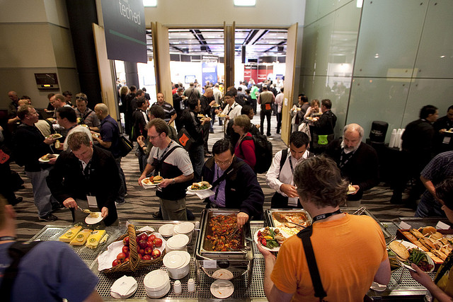 conference buffet line