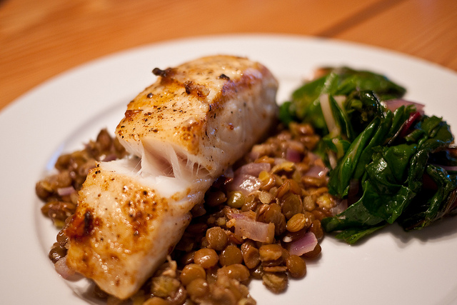 halibut over lentils