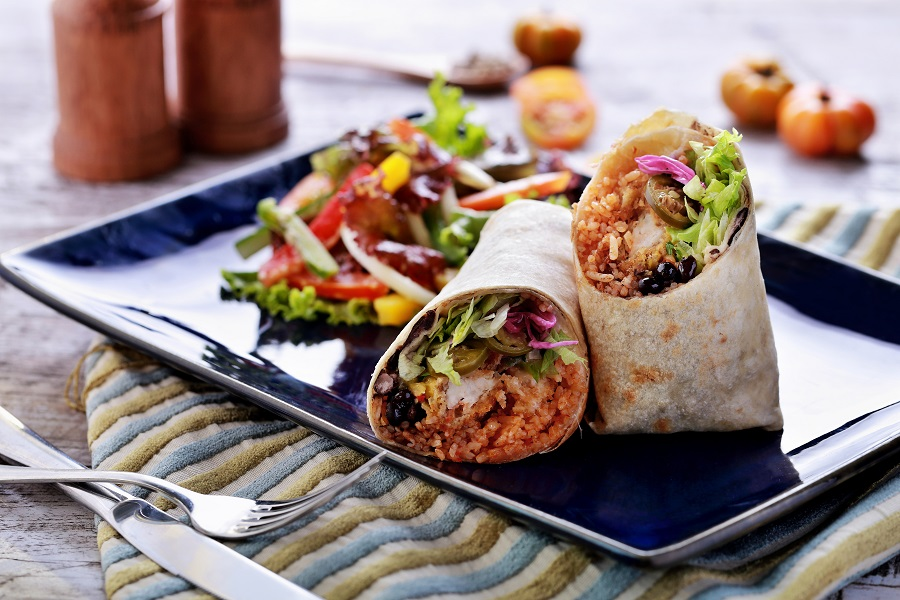 try this yummy burrito for corporate lunch catering in stanford